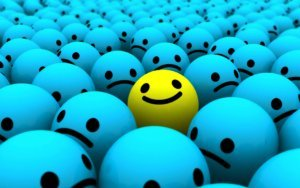 Blue Monday - lachende smiley tussen droevige